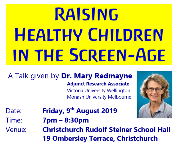 "Dr. Mary Redmayne to speak in Christchurch on ""Raising Healthy Children in the Screenage"" on August 9"